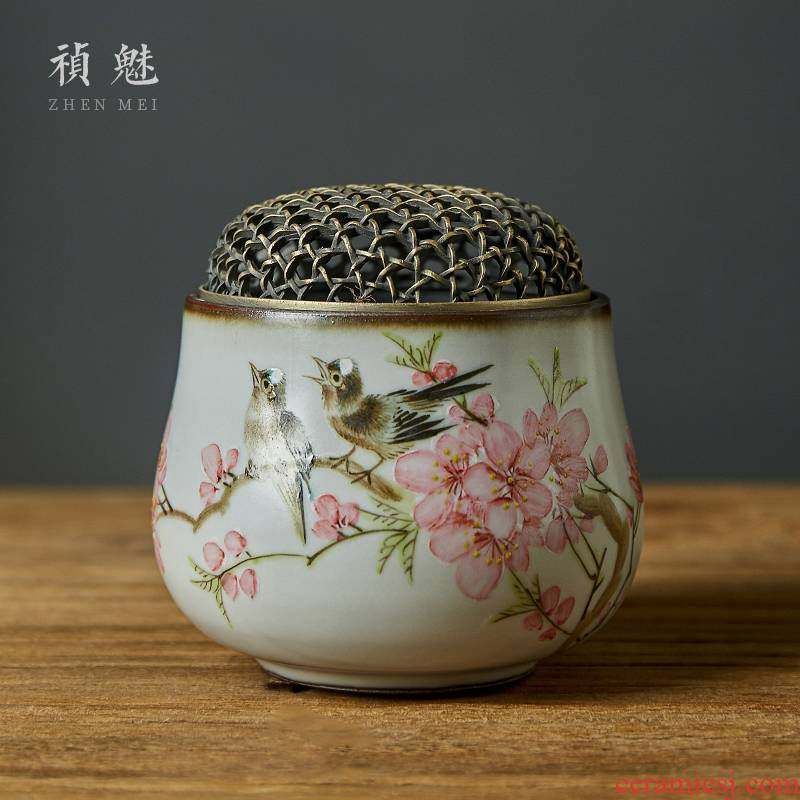 Shot incarnate your up hand - made water peach incense buner jingdezhen ceramic kung fu tea accessories home head smoked