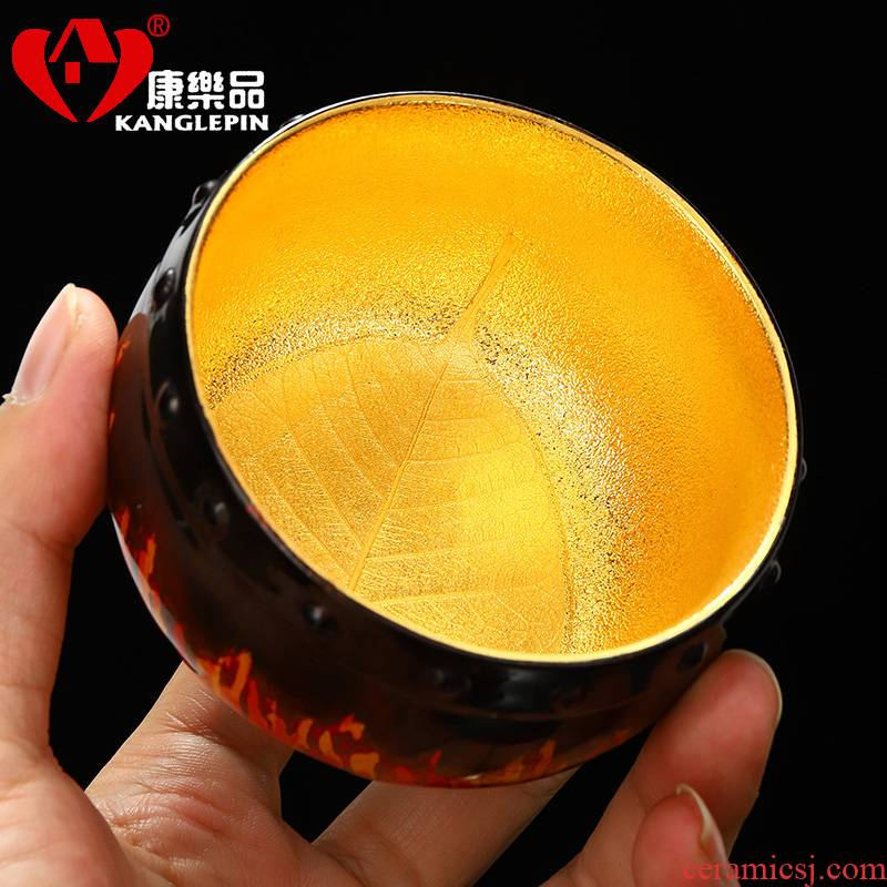 Recreational product Wang Cunxu lacquer drum line 24 k gold leaf light bodhi always violet arenaceous big cup 225 ml pure manual