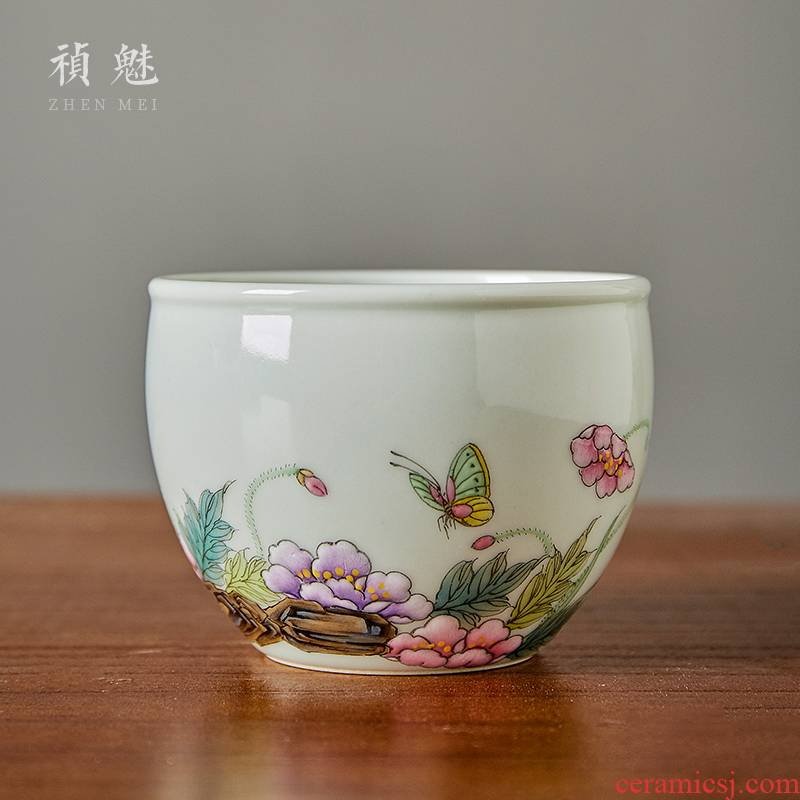 Shot incarnate the cup of jingdezhen ceramic hand - made pastel cylinder manually kung fu tea set personal sample tea cup master cup single CPU