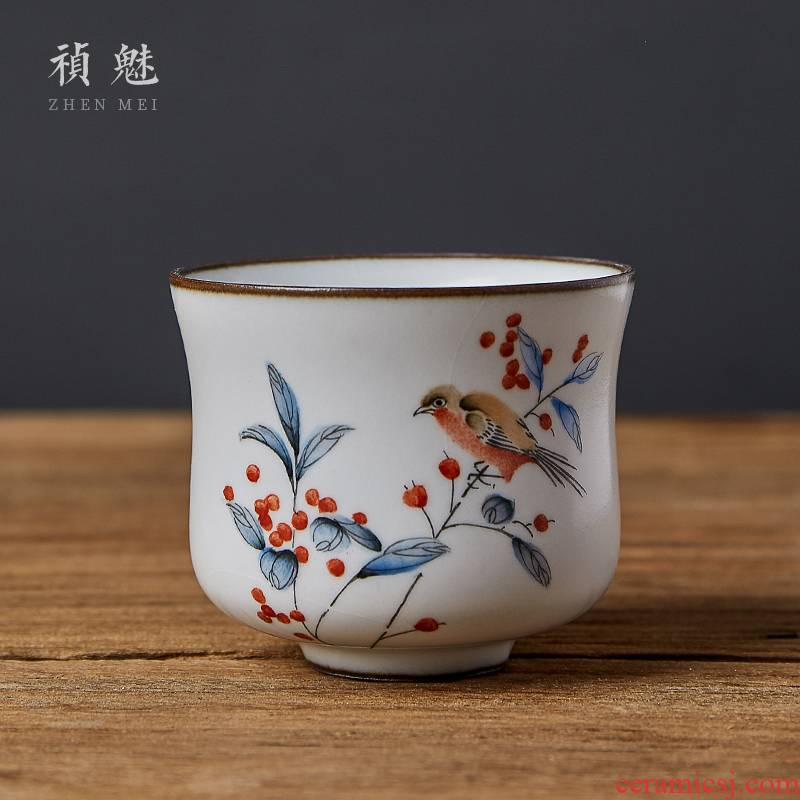 Shot incarnate your up on hand - made painting of flowers and a cup of jingdezhen ceramic kung fu tea master sample tea cup cup personal single CPU