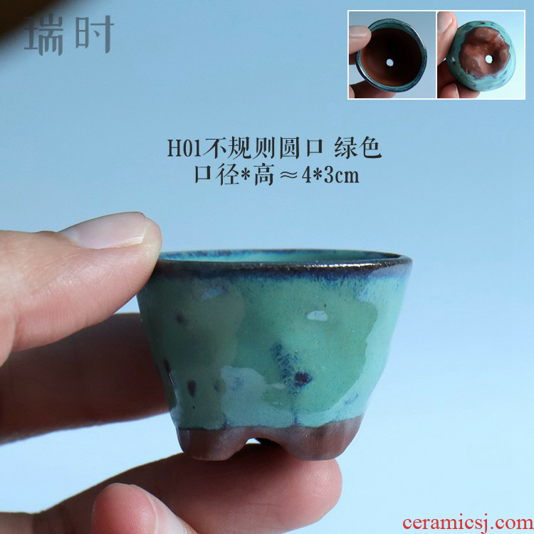 Ceramic coarse pottery half glaze contracted thumb tiny flower POTS, small lovely special bean basin
