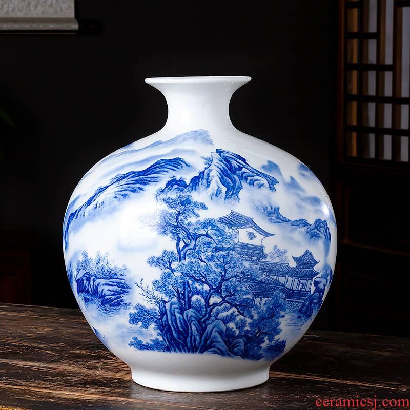 Jingdezhen ceramic pomegranates of blue and white porcelain vase Chinese style living room TV ark, flower arranging porcelain home decoration furnishing articles