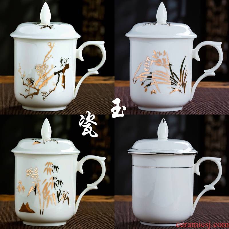 Jingdezhen ceramic cup with a lid office cup water jade ipads porcelain cup cup meeting domestic cups