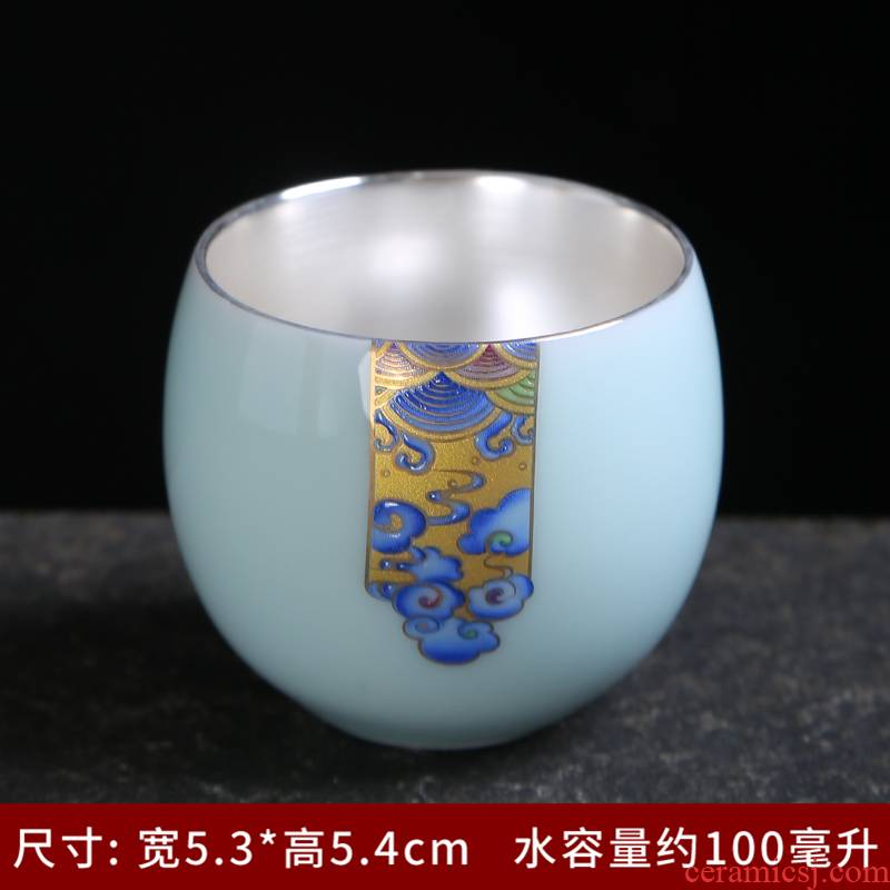 Paint manual kung fu tea master cup single CPU ceramic sample tea cup large white porcelain pu 'er celadon cup accessories