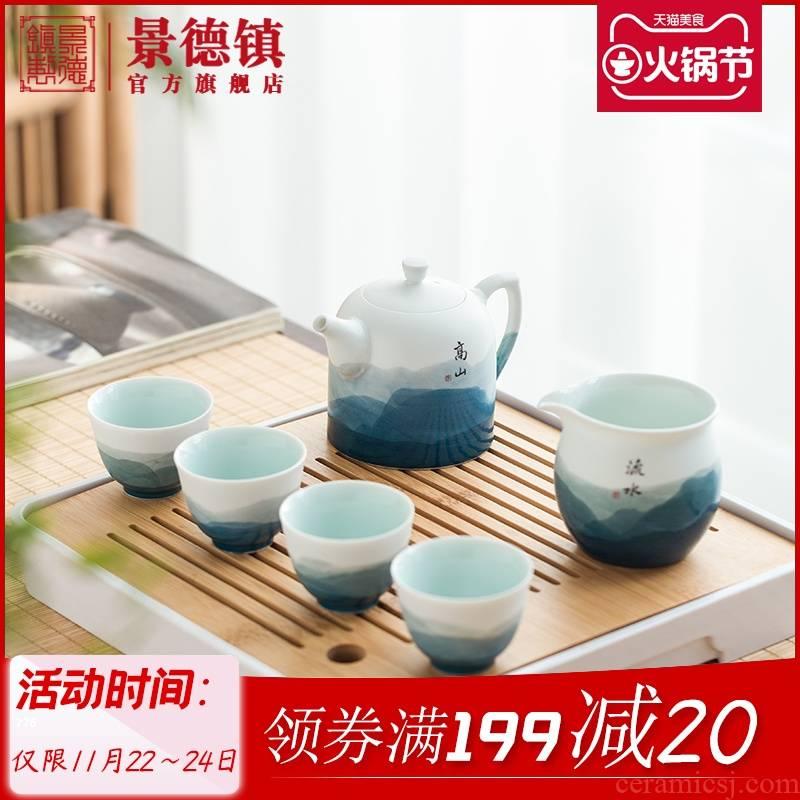 Jingdezhen flagship store hand - made natural wind instruments of household ceramic little teapot tea tea set