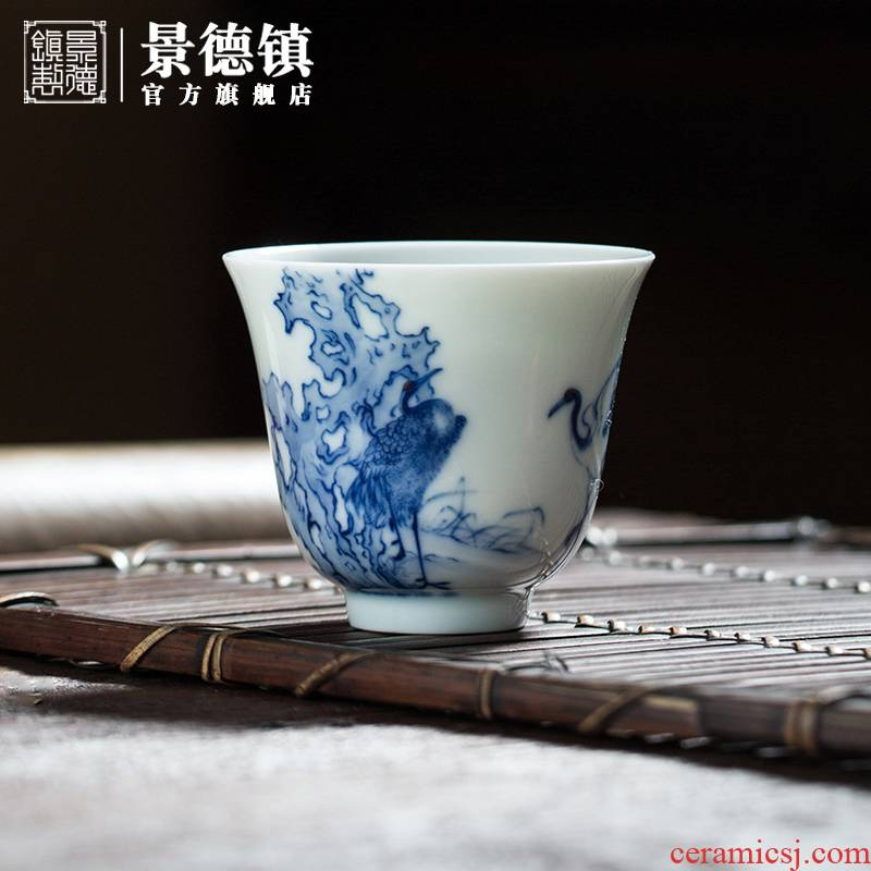 Jingdezhen flagship store rui crane master cup single CPU maintain all hand sample tea cup tea cups tea masters cup