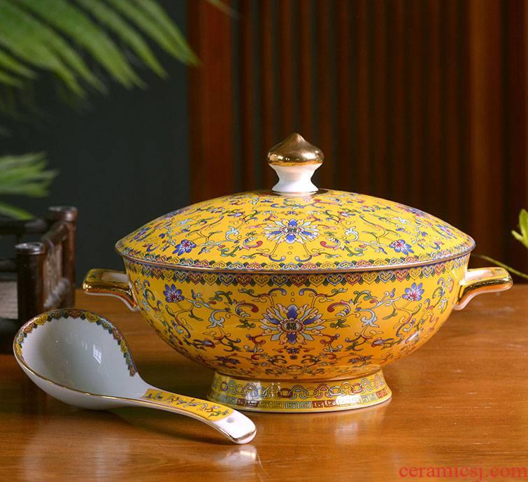 Jingdezhen ceramic ears with cover large soup bowl large household ipads porcelain soup pot pot soup pot enamel archaize tableware