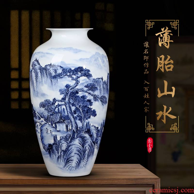 Jingdezhen ceramics by hand draw flower arranging Chinese antique blue and white porcelain vase is placed in the sitting room porch decoration
