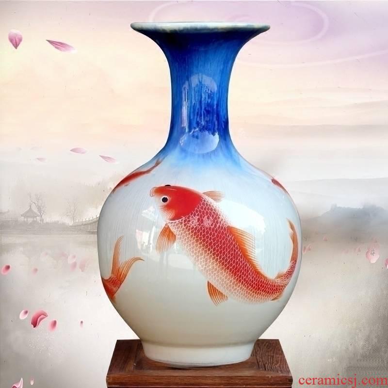 Jingdezhen ceramics up red carp floret bottle of home sitting room desk mesa office furnishing articles of handicraft