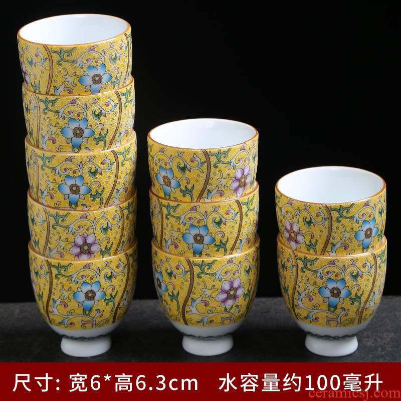 Tasted silver gilding jingdezhen ceramic kung fu tea set pure manual sample tea cup individual CPU master cup single CPU colored enamel cups