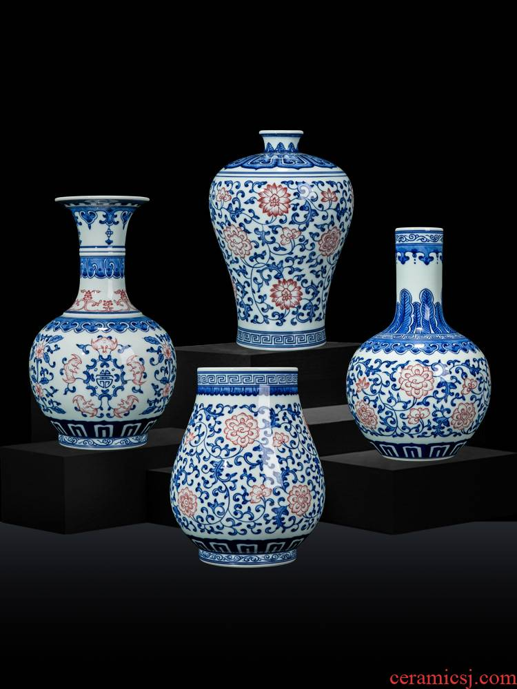 Vase furnishing articles ceramic flower implement decoration flower arranging small sitting room jingdezhen blue and white Chinese antique hand - made of vases