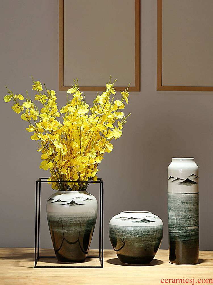 Jingdezhen ceramics vases, I and contracted sitting room porch decoration of the new Chinese style furnishing articles dried flowers flower arrangement suits for