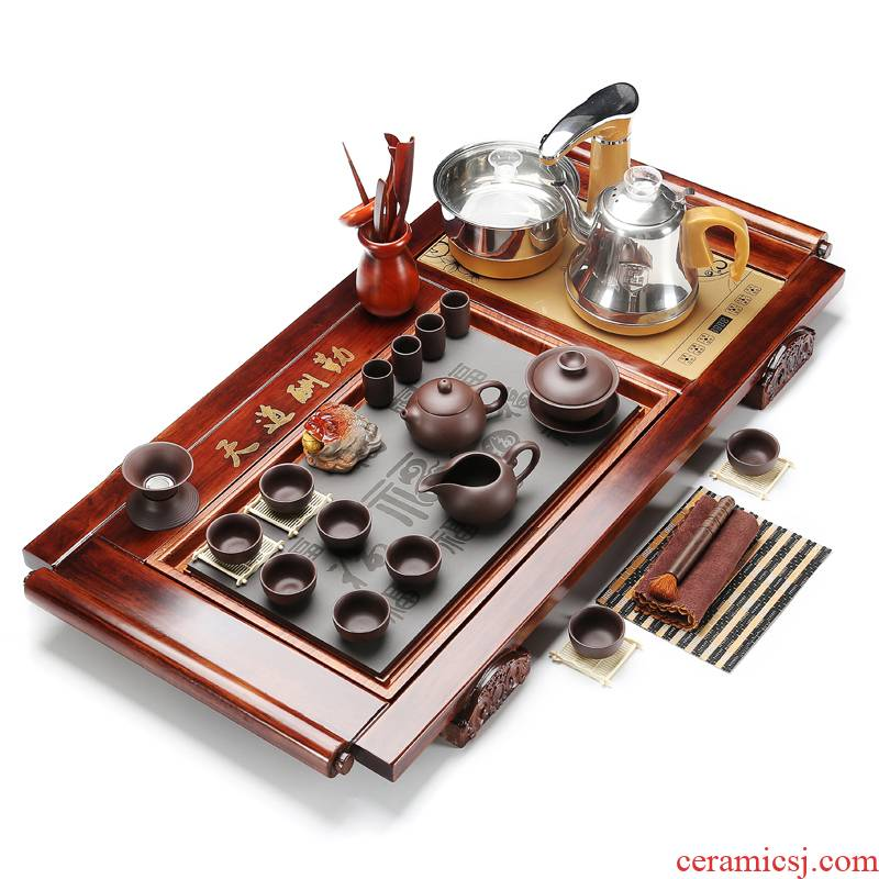 RenXin solid wood tea tray was violet arenaceous tea sets stone sharply snap a whole set of fully automatic pumping electric heating furnace