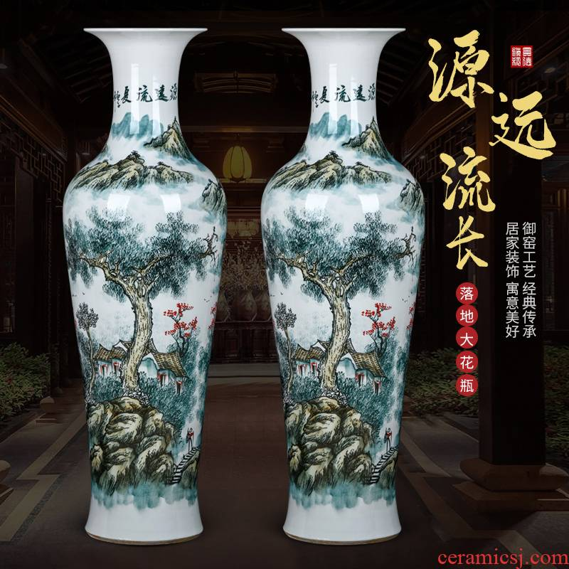 Jingdezhen ceramics hand - made large vases, new Chinese style living room large heavy furnishing articles home decoration gifts