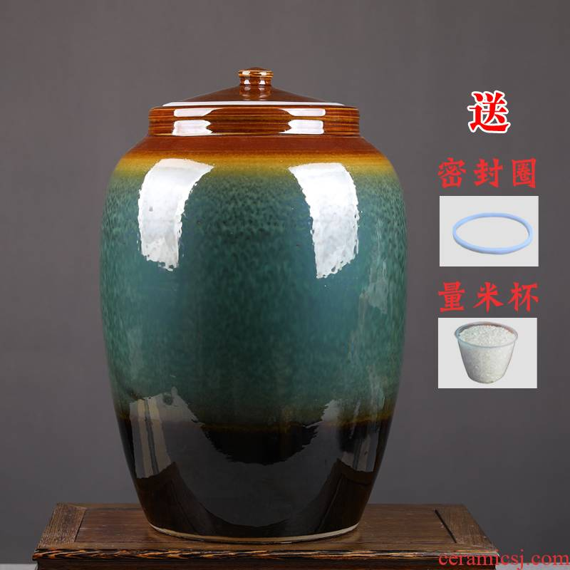 Jingdezhen ceramic barrel 50 kg pack ricer box oil cylinder water pickles meat with cover seal caddy fixings storage tank