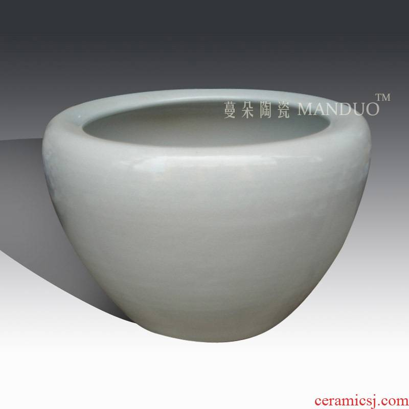 Jingdezhen white open crack glaze ceramic cylinder elder brother up with porcelain, white fish painting porcelain cylinder