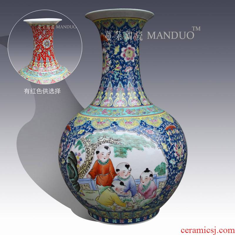 Jingdezhen hand - made pastel lad tong qu characters vase classical ancient space of display art design
