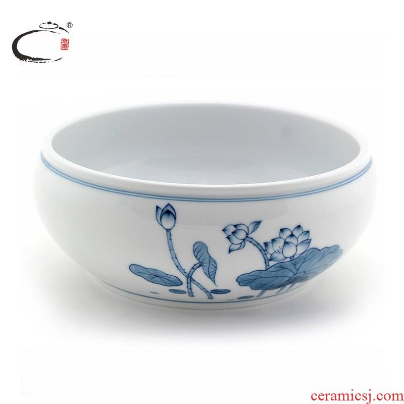 And auspicious jing DE blue And white antique large tea to wash hand washing of jingdezhen ceramic writing brush washer water jar tea accessories