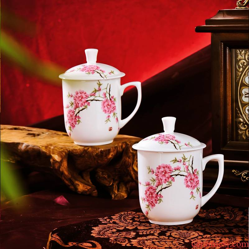 Red xin jingdezhen gift cups with cover ceramic big office suit to the CPU