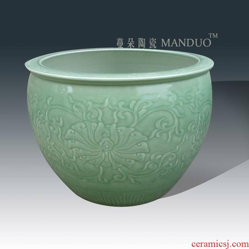 Elegant celadon aquarium writing brush washer ceramic porcelain carving flower POTS fashion beautiful flowerpot porcelain small cylinder