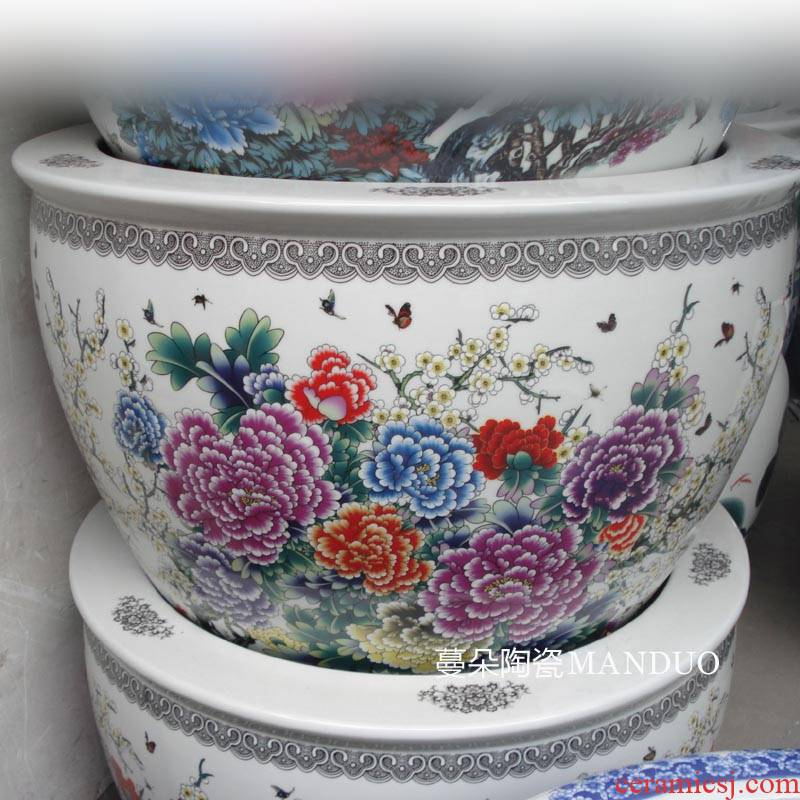 Jingdezhen color peony 60-75 cm large diameter cylinder ceramic porcelain exposure frost to hold porcelain vats