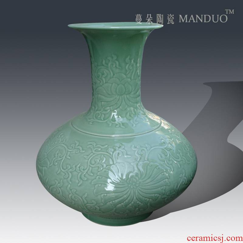 Contracted mesa vase move culture art decoration elegant celadon vase carving a flat belly display vase