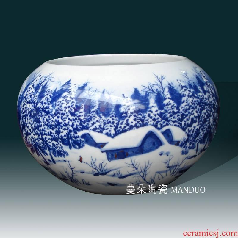 Jingdezhen hand - made snow writing brush washer elegant furnishings snow blue and white porcelain porcelain writing brush washer from fish writing brush washer from cylinder