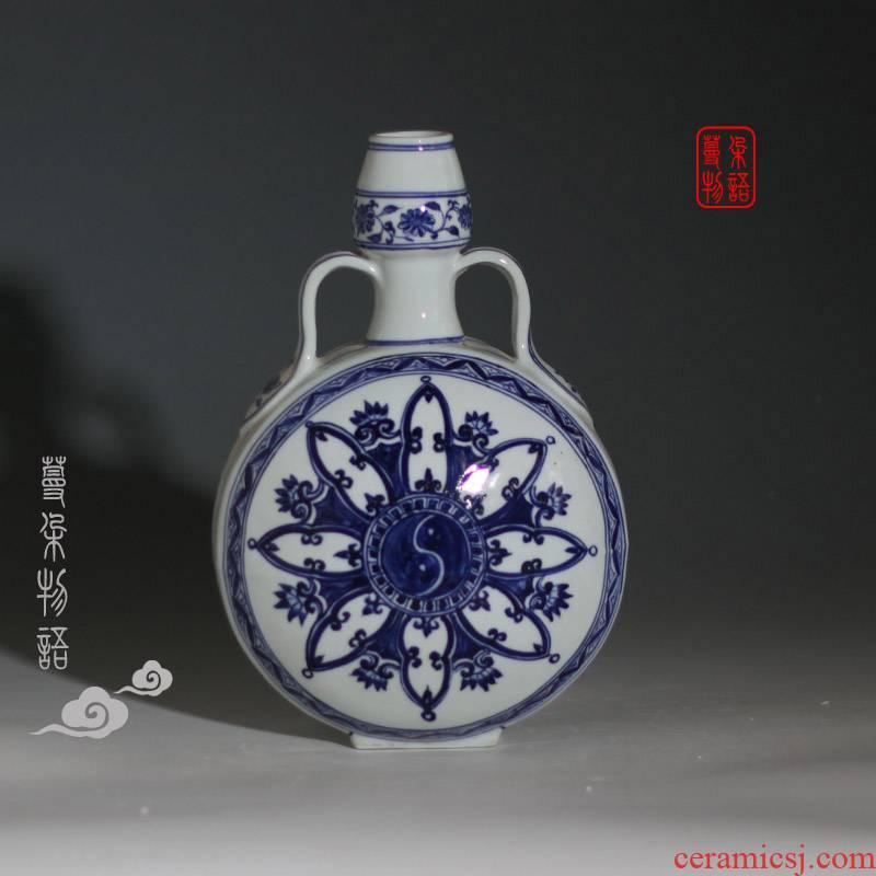 Ears best flat treasure gourd vase phase blue and white gourd gourd vases, flower dragon porcelain vase