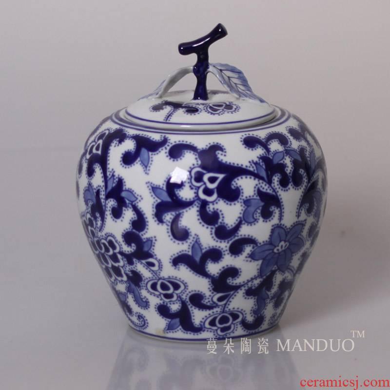 Jingdezhen porcelain apple porcelain jar of blue and white porcelain jar porcelain tanks tanks' lads' Mags' including nuts