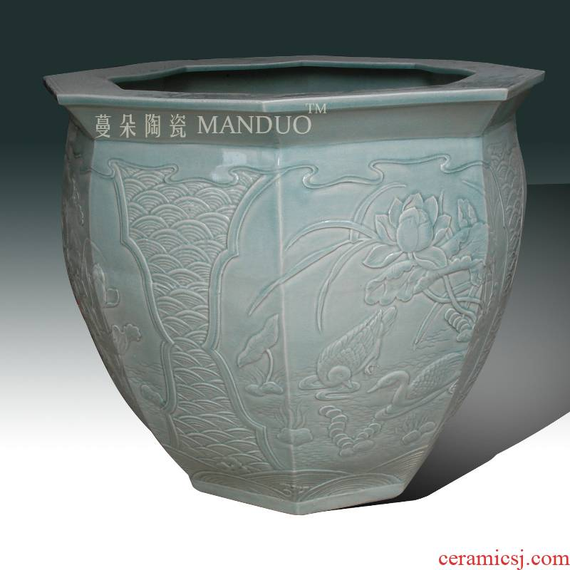 Jingdezhen square porcelain its of VAT relief porcelain, celadon VAT archaize classical embossed lotus vats