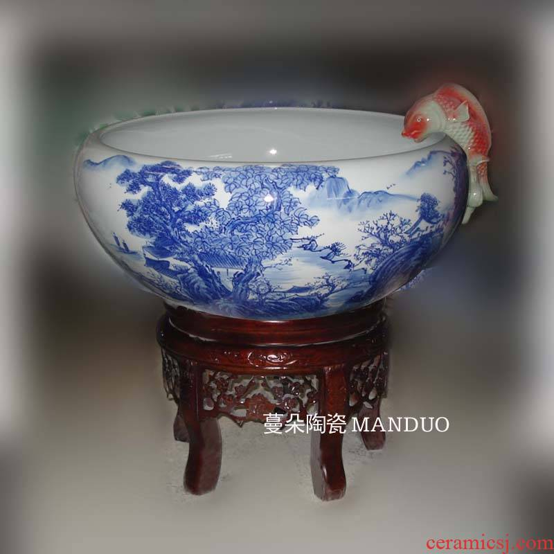 Blue and white landscape fountain water cycle of jingdezhen porcelain hand - made porcelain fountain landscape aquarium fish tank real wood