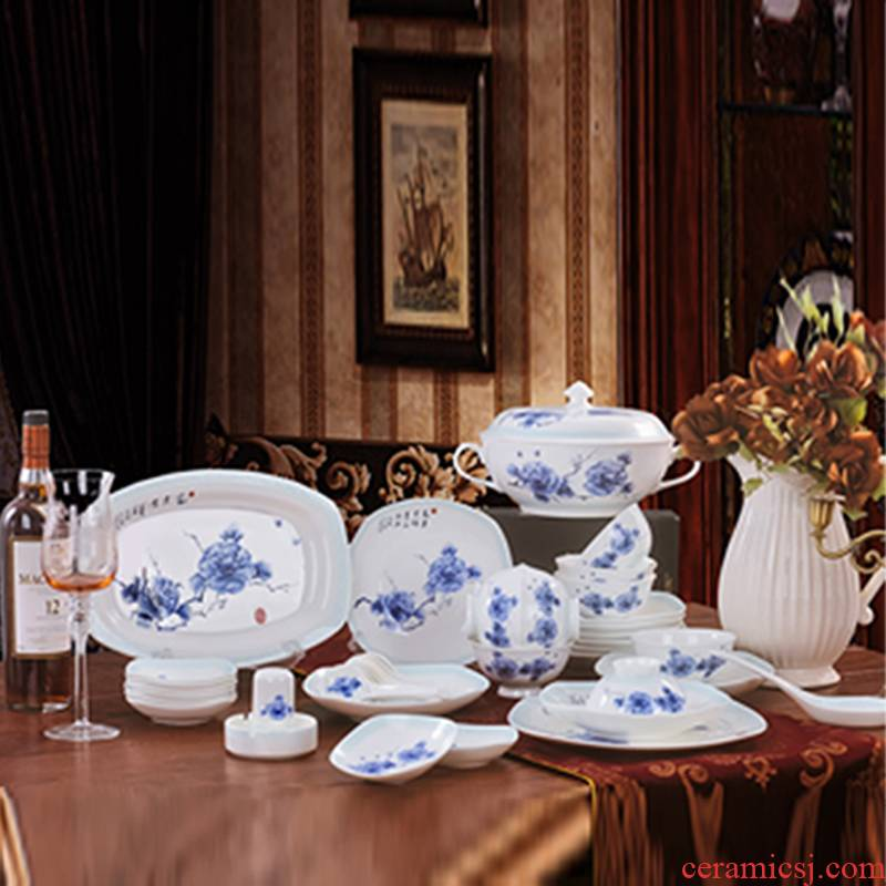 Red xin European - style originality 56 skull porcelain suit to use suit of blue and white peony porcelain ceramic tableware