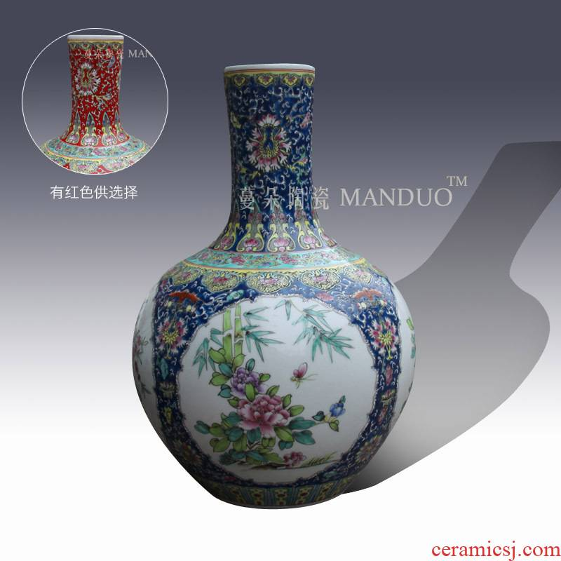 Jingdezhen manual painting of flowers and birds famille rose decoration vase elegant Chinese style lively living room furnishings vase