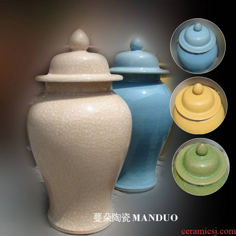 Jingdezhen elegant ice to crack the general pot of 50 cm high general elegant furnishings ice crack cover tank