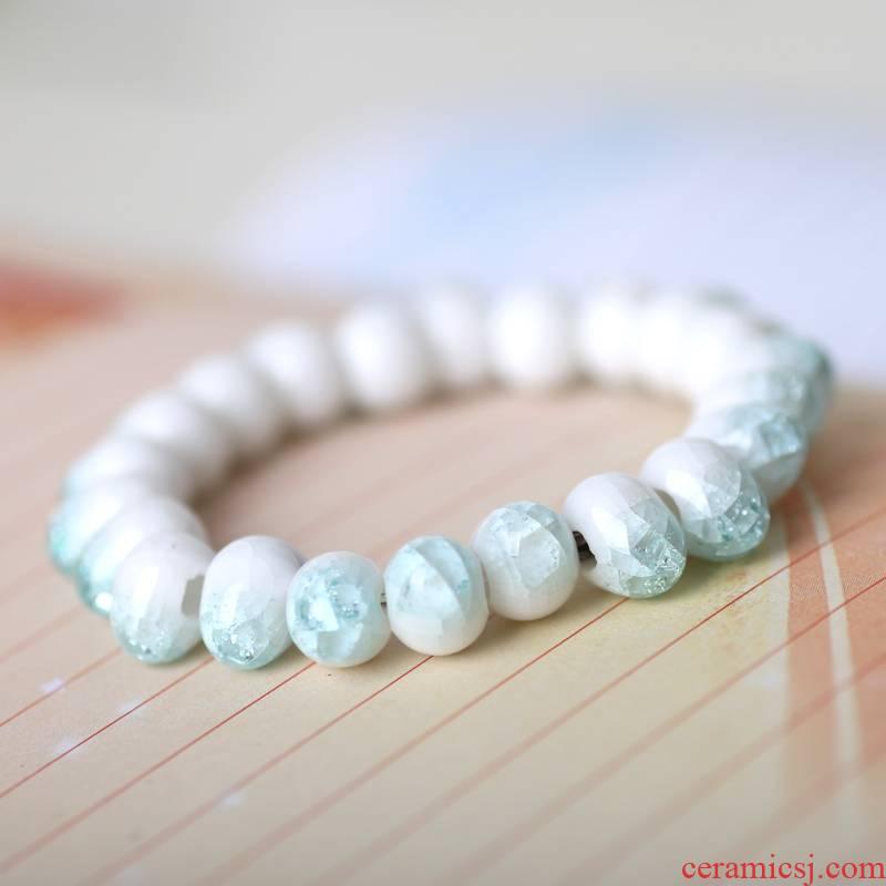 QingGe jingdezhen checking ceramic jewelry crack glaze round bead bracelet ceramic jewelry market. I ten sources