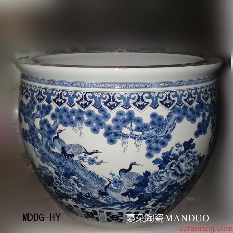 Jingdezhen blue and white crane, pine needle 18 cranes hand - made porcelain art 90 large diameter cylinder 70 high VAT