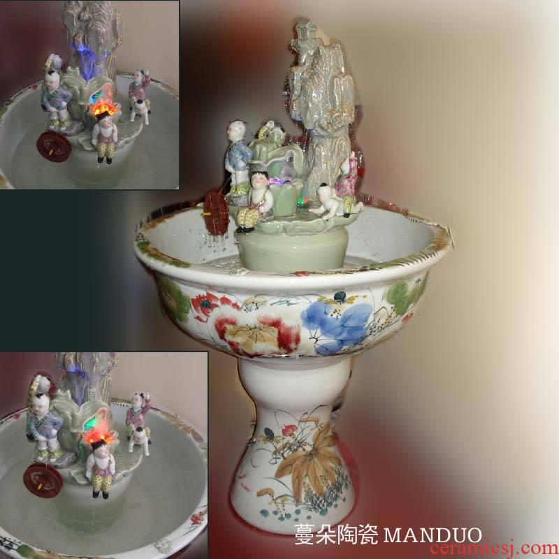 Jingdezhen high cycle five sub - ka the rockery fountain aquarium Jingdezhen porcelain aquarium fountain aquarium