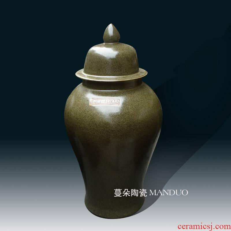 Jingdezhen tea at the end of the classical color general can display vase general classical ancient 60 cm high cover tank