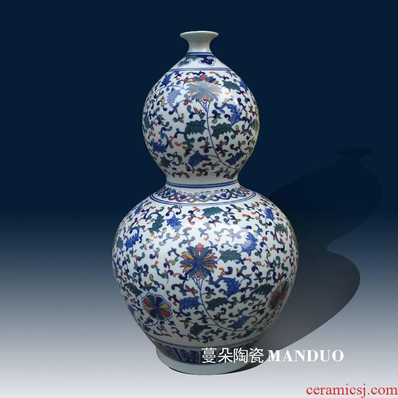 Jingdezhen colorful gourd blue and white porcelain bottle gourd vase branch lotus error porcelain bottle gourd vases