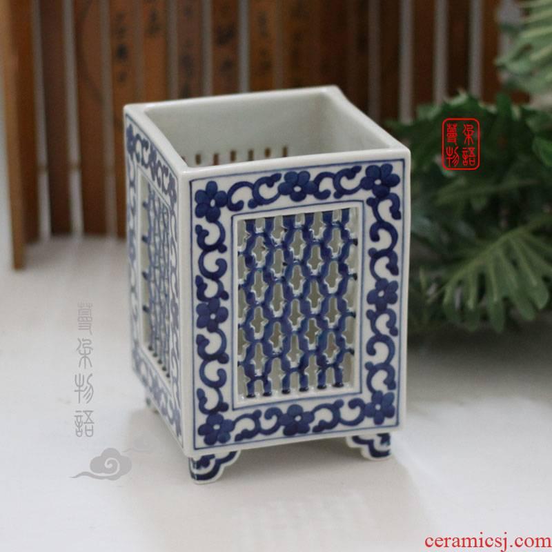 Jingdezhen art of hollow out hand brush pot hollow - out decorative vase hollow out blue pen container