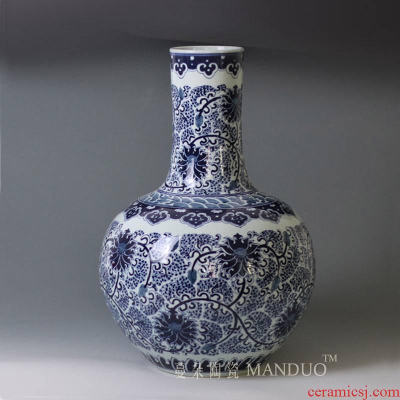 Jingdezhen hand - made porcelain bound vase elegant blue and white lotus flower grain celestial art hand - made mesa display vase