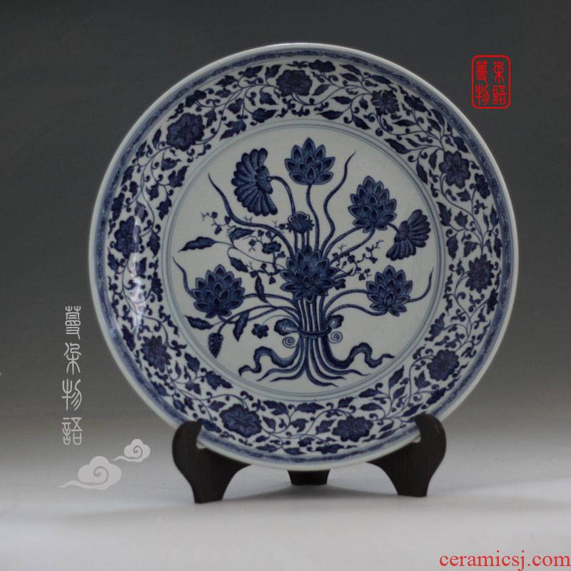 Jingdezhen hand - made kangxi hand draw a bunch of pure hand - made porcelain lotus flower porcelain porcelain 42 cm. A bunch of even