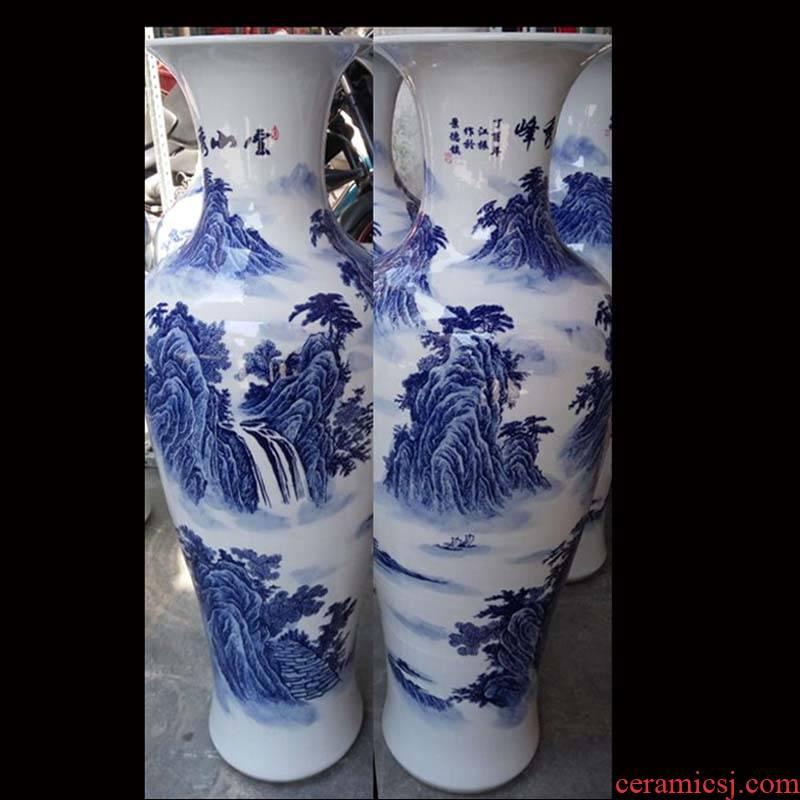 Jingdezhen blue and white flowers classical furnishings vase full 1 m sitting room furnishings simple big vase