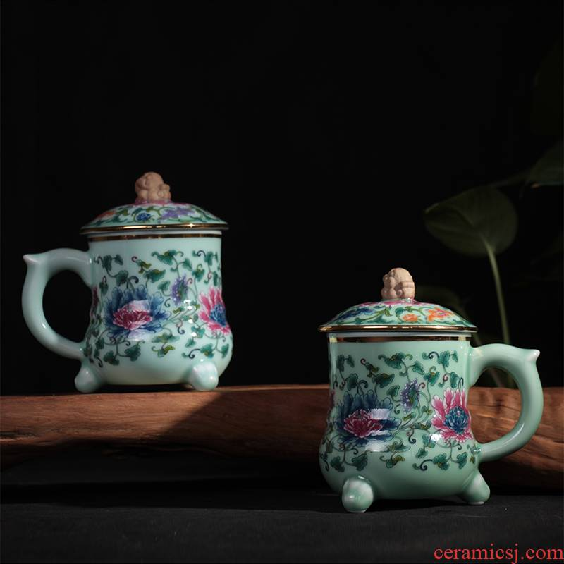 Red xin celadon teacup ceramic cup coloured drawing or pattern, the mythical wild animal creative office with cover cup with a cup of mercifully tea cups