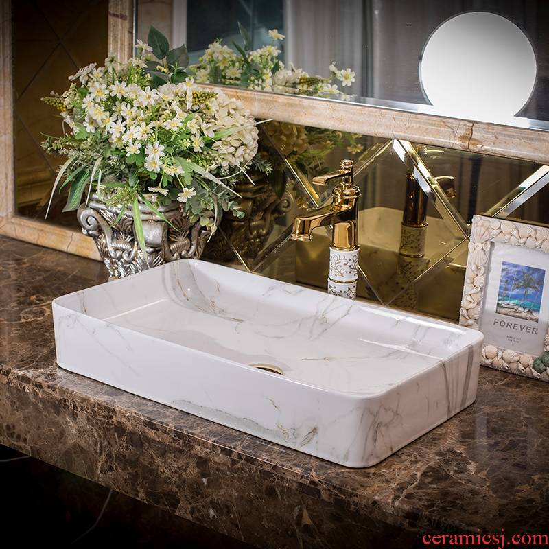 Jingdezhen ceramic art basin on its extended rectangle bathroom marble sinks the sink basin