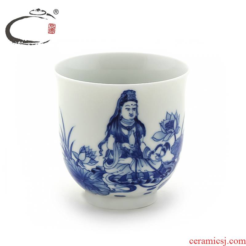 And auspicious system porcelain guanyin lotus cup kung fu tea set jingdezhen ceramic hand - made porcelain cups big bowl