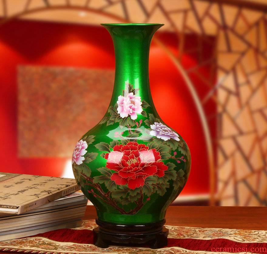 Jingdezhen ceramics high - grade crystal glaze green peony vases, I and fashionable household decorative furnishing articles