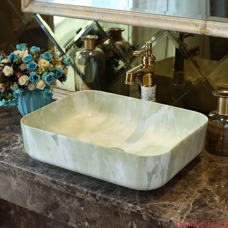 Basin art ceramics on the rectangle Europe type restoring ancient ways sink imitation marbled bathroom sinks