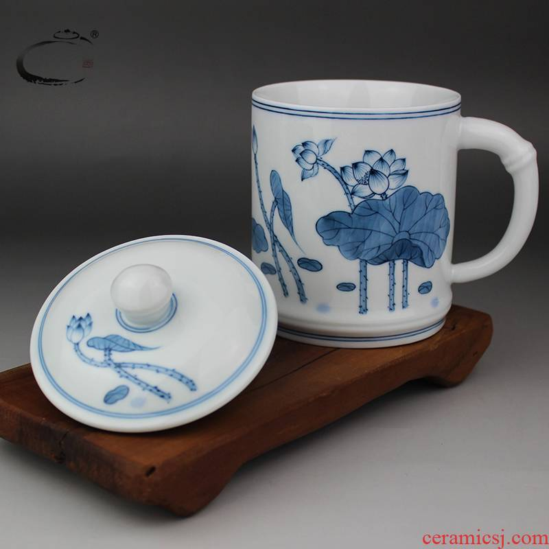 Blue and white lotus cup jingdezhen ceramic cup with cover and auspicious hand - made glass office make tea cup and meeting the boss