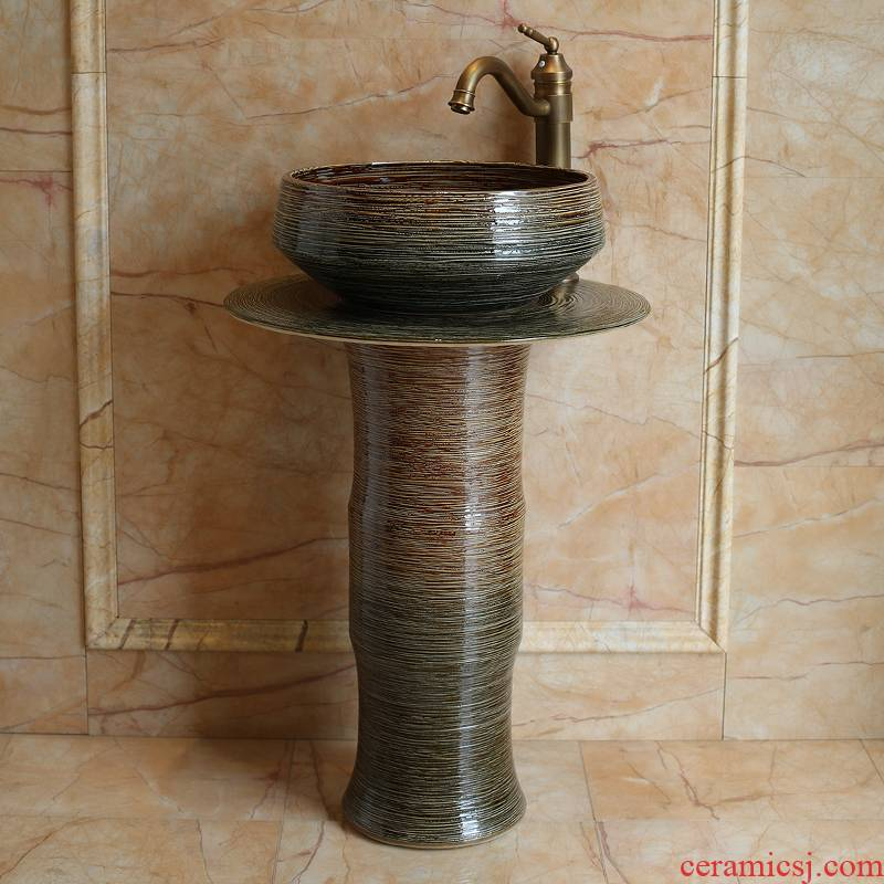 The sink basin of jingdezhen ceramic pillar indoor and is suing balcony ground integrated art basin sink The lavatory